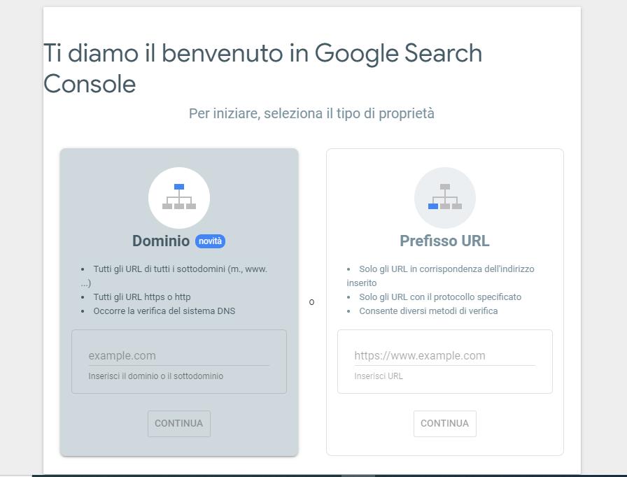Aggiungi sito a google Search Console