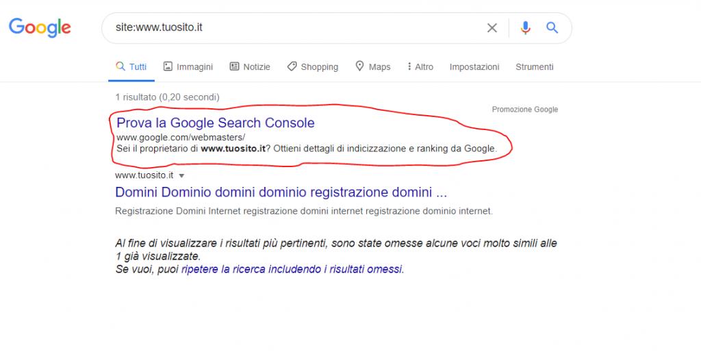 Verifica il tuo sito per incizzazione su Google